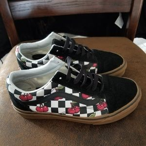 Vans old skool checkered and cherries shoes